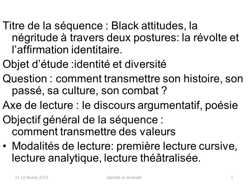 97f7ac908ad Objet d étude  identité et diversité - ppt video online télécharger