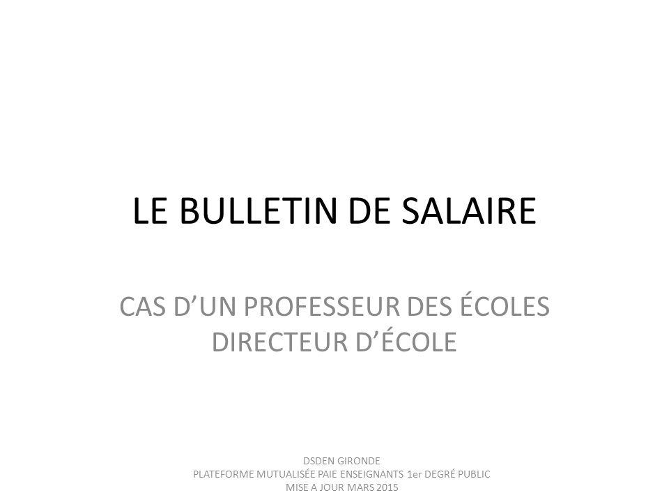 Calendrier Paie Prof.Cas D Un Professeur Des Ecoles Directeur D Ecole Ppt