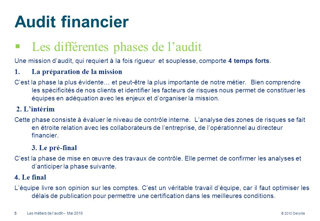 Audit financier Les différentes phases de l'audit