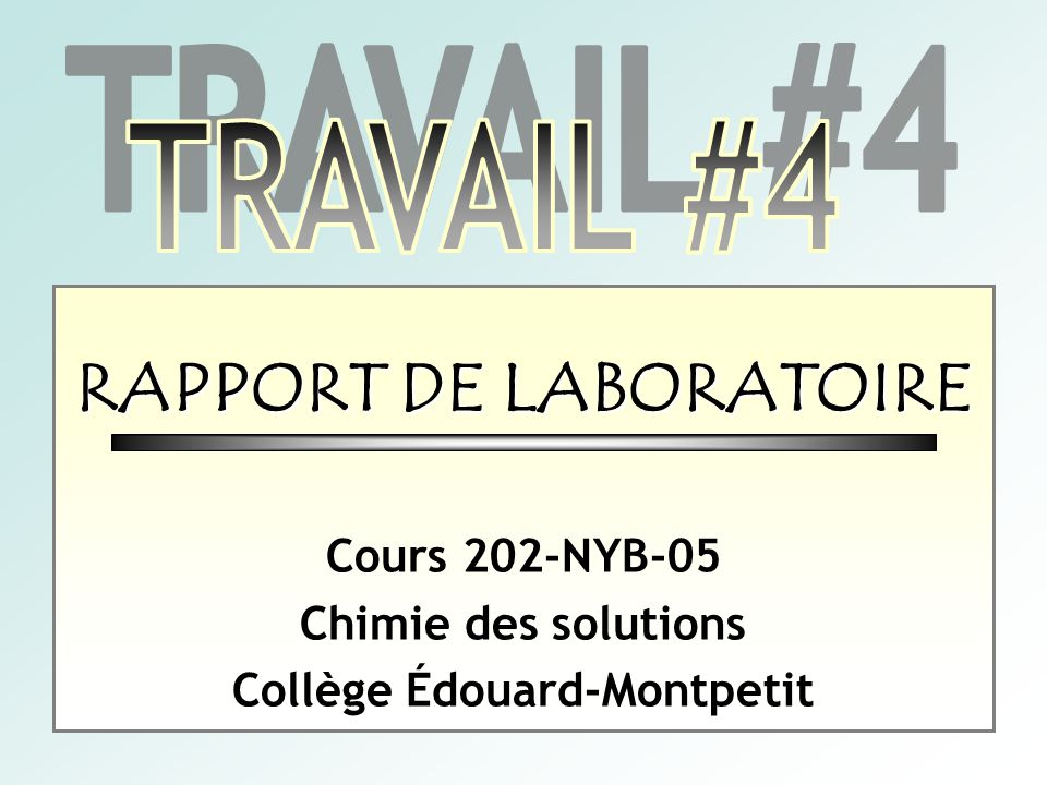Rapport De Laboratoire Collège édouard Montpetit