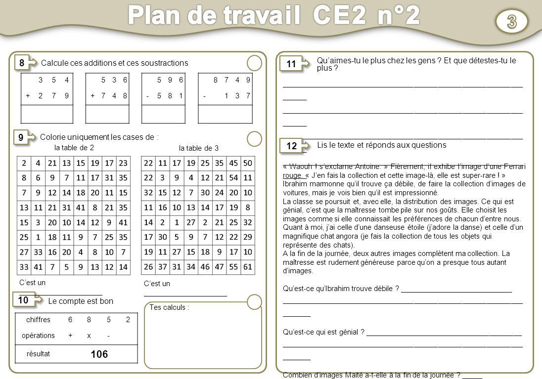 Plan de travail CE2 n°2 1 Activités au choix Activités