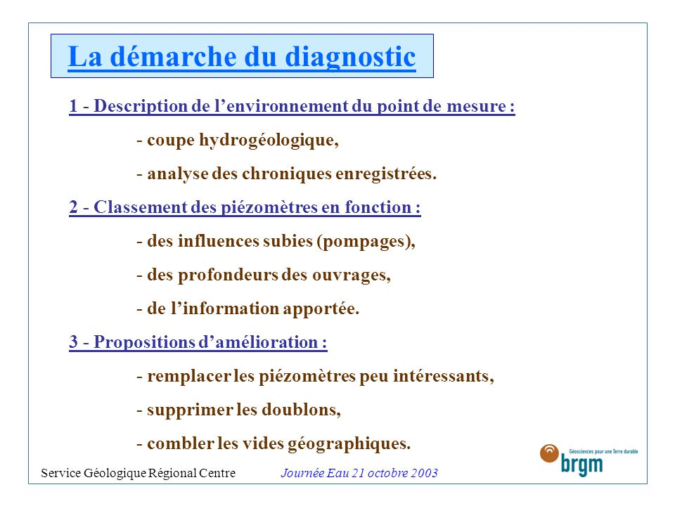 La démarche du diagnostic