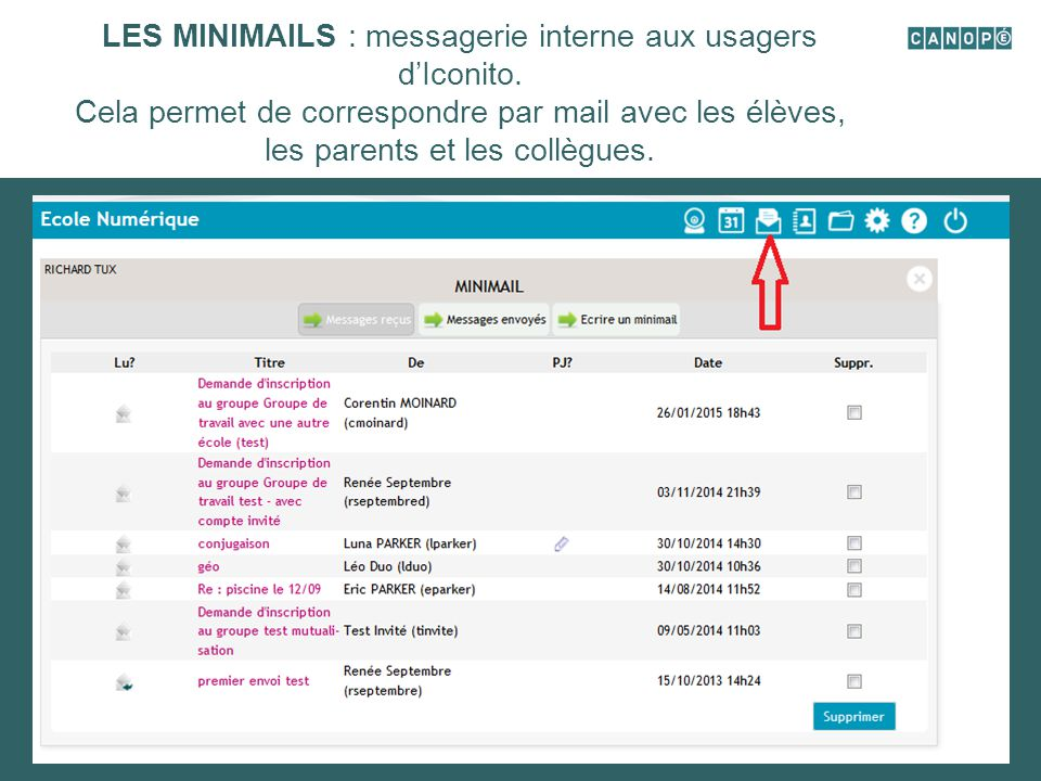 LES MINIMAILS : messagerie interne aux usagers d'Iconito