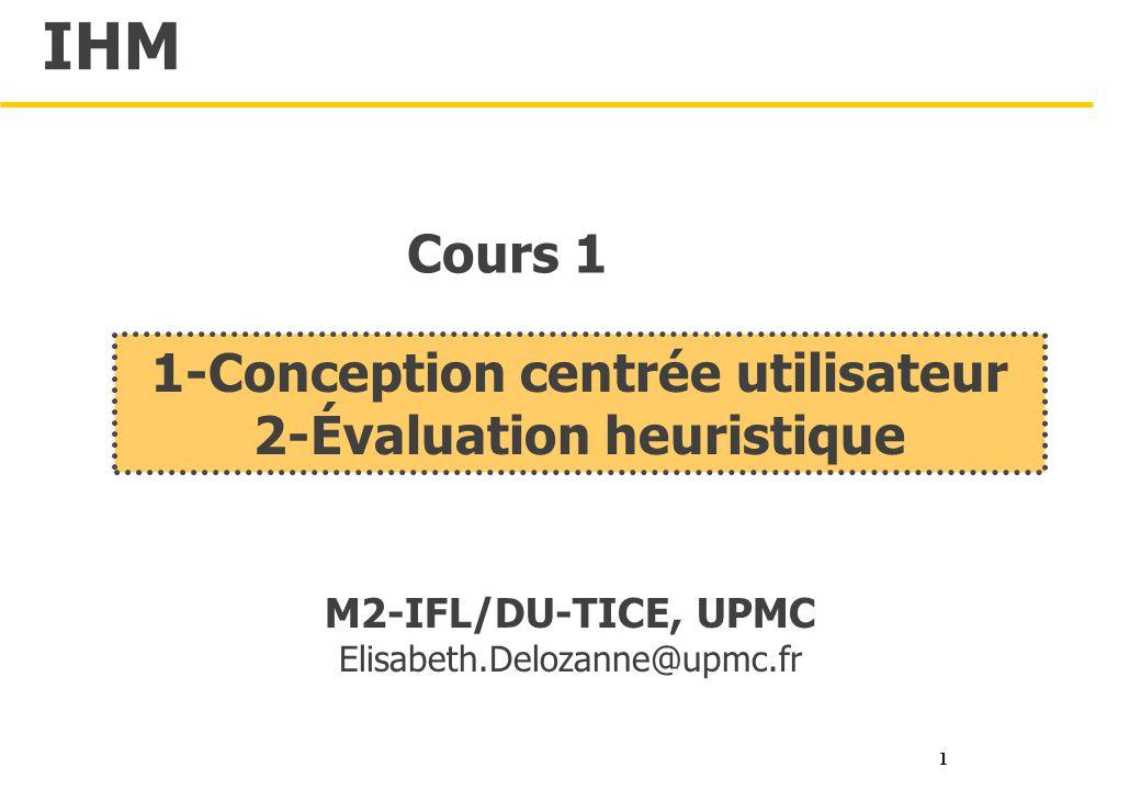 1 Conception Centrée Utilisateur 2 évaluation Heuristique Ppt