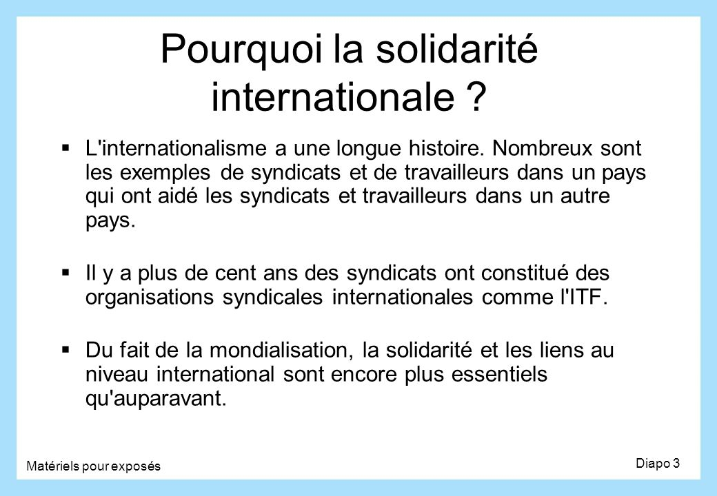 Pourquoi la solidarité internationale