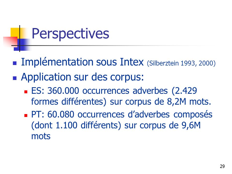 Perspectives Implémentation sous Intex (Silberztein 1993, 2000)