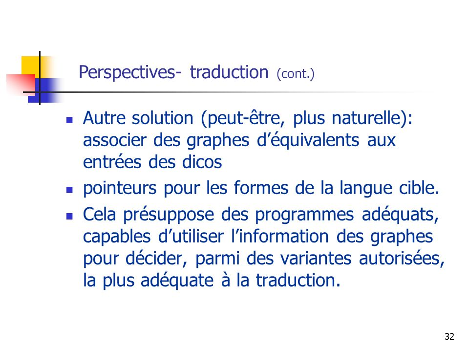 Perspectives- traduction (cont.)
