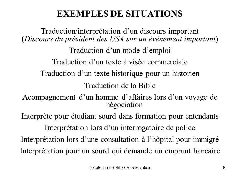 EXEMPLES DE SITUATIONS