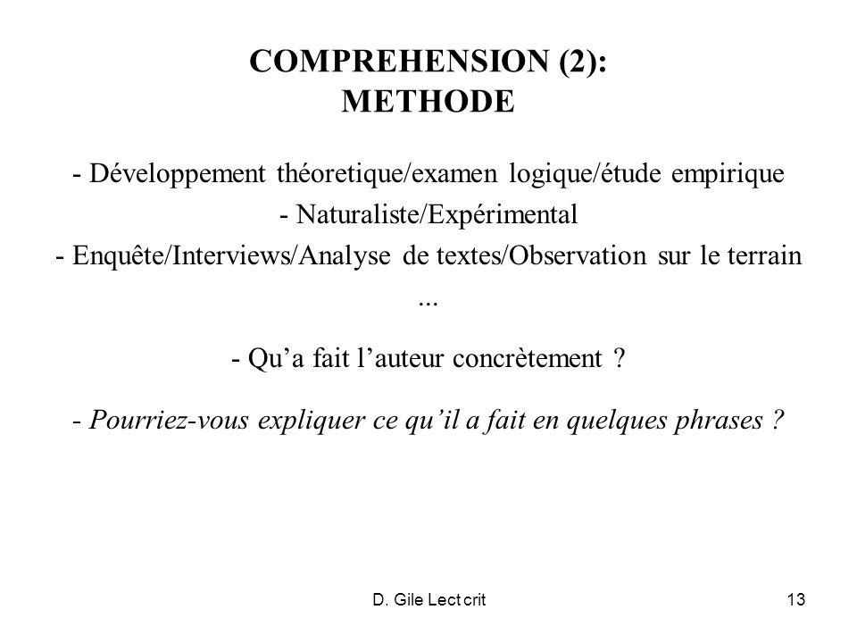 COMPREHENSION (2): METHODE