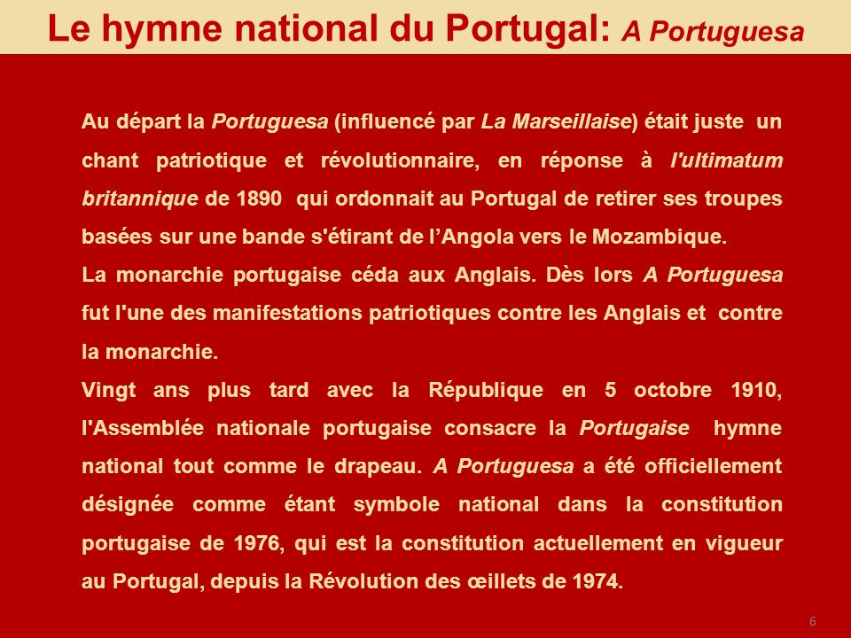 Le hymne national du Portugal: A Portuguesa