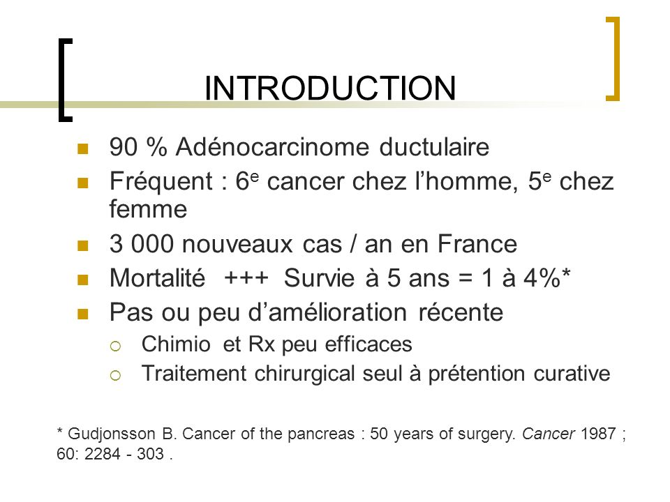 INTRODUCTION 90 % Adénocarcinome ductulaire