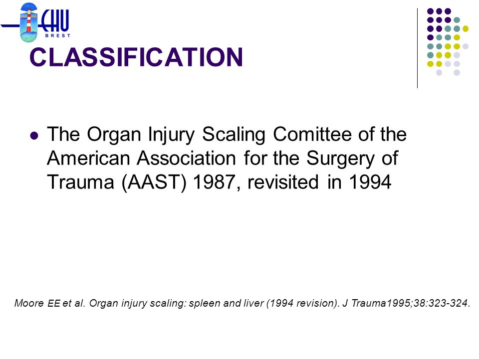 CLASSIFICATION The Organ Injury Scaling Comittee of the American Association for the Surgery of Trauma (AAST) 1987, revisited in 1994.