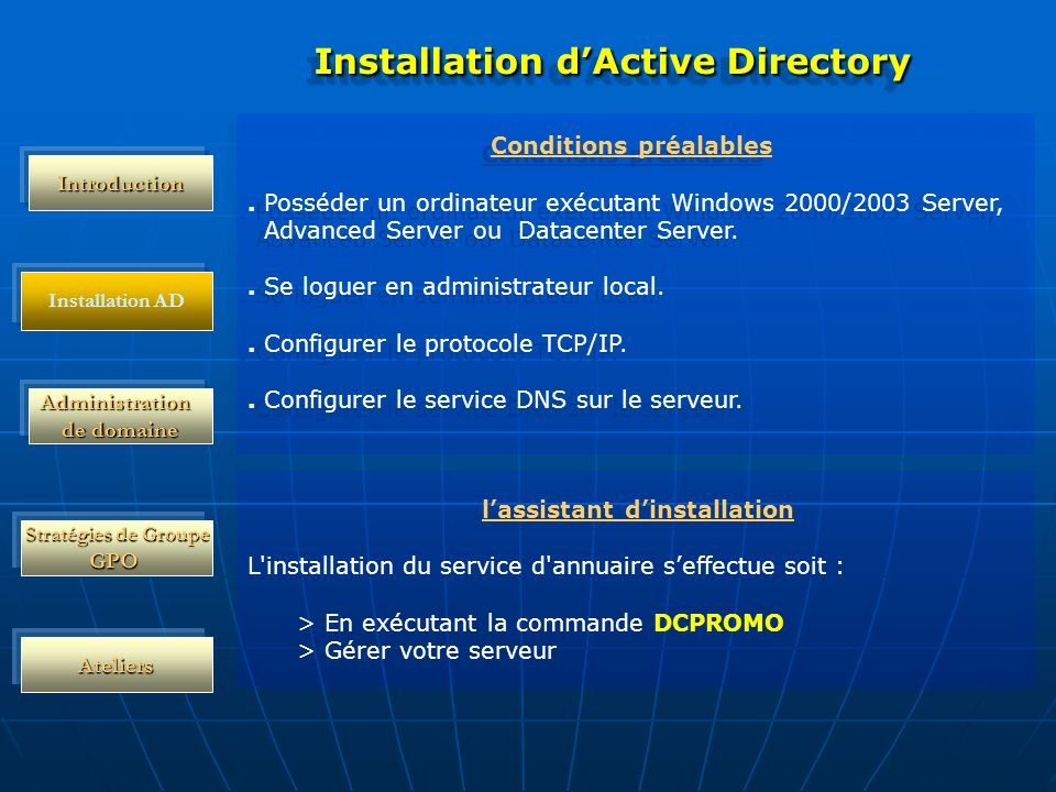 Installation d'Active Directory