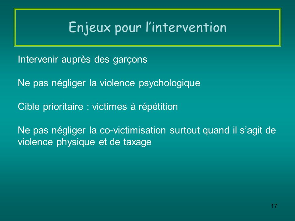 Enjeux pour l'intervention