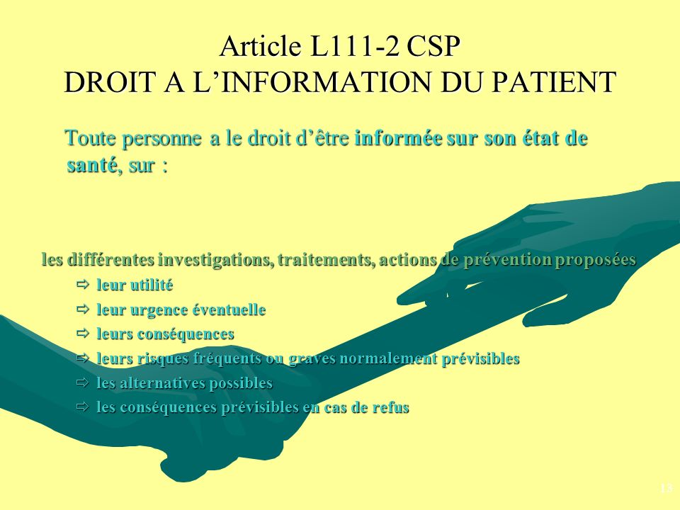 Article L111-2 CSP DROIT A L'INFORMATION DU PATIENT