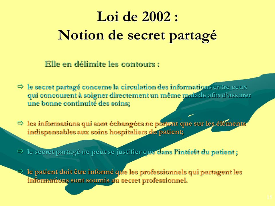 Loi de 2002 : Notion de secret partagé