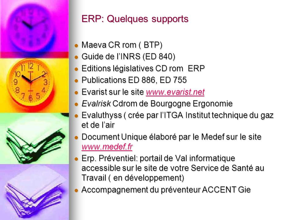 ERP: Quelques supports