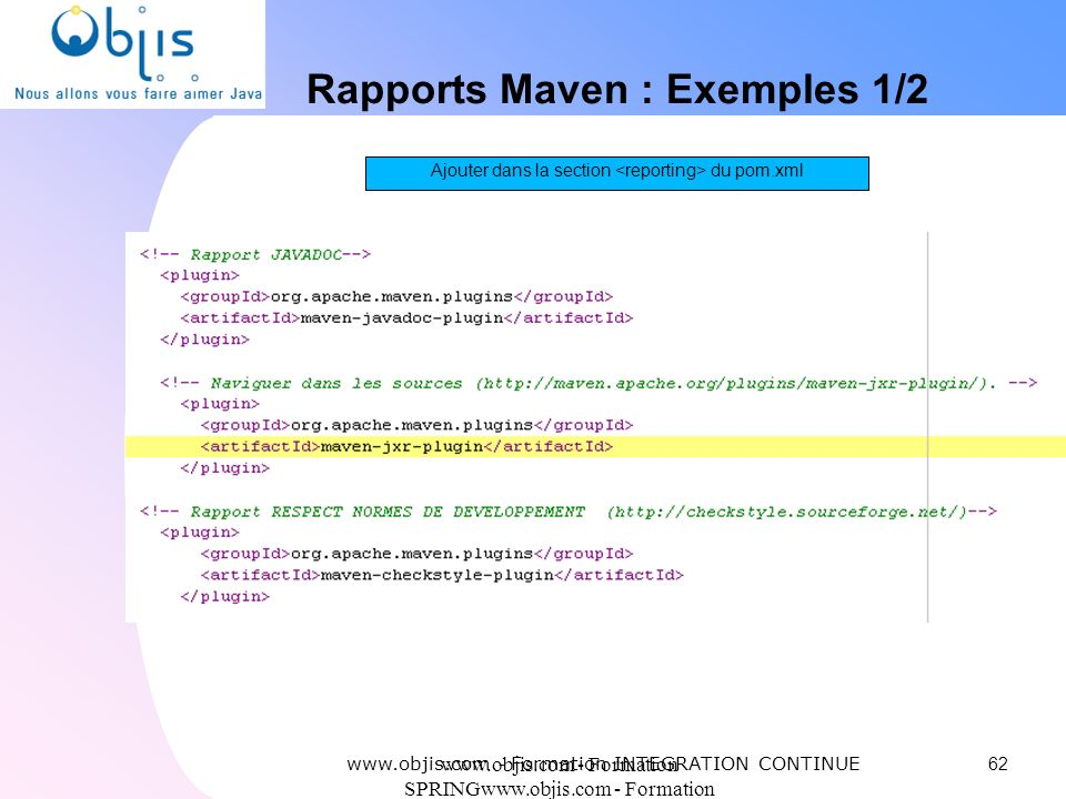Rapports Maven : Exemples 1/2
