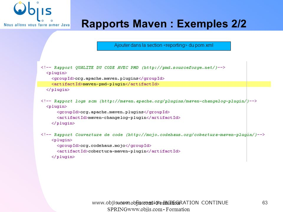 Rapports Maven : Exemples 2/2
