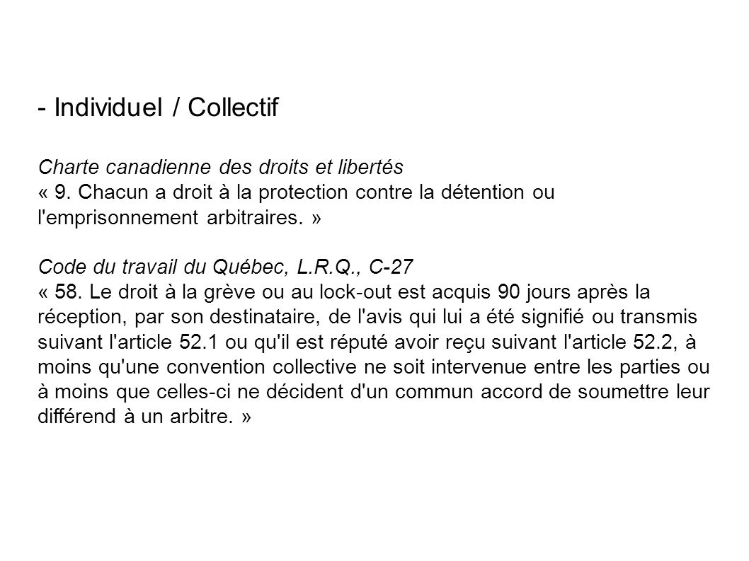 - Individuel / Collectif