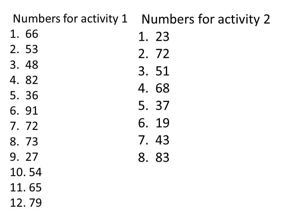 Numbers for activity 1 1. 66 2. 53 3. 48 4. 82 5. 36 6. 91 7. 72 8. 73 9. 27 10. 54 11. 65 12. 79