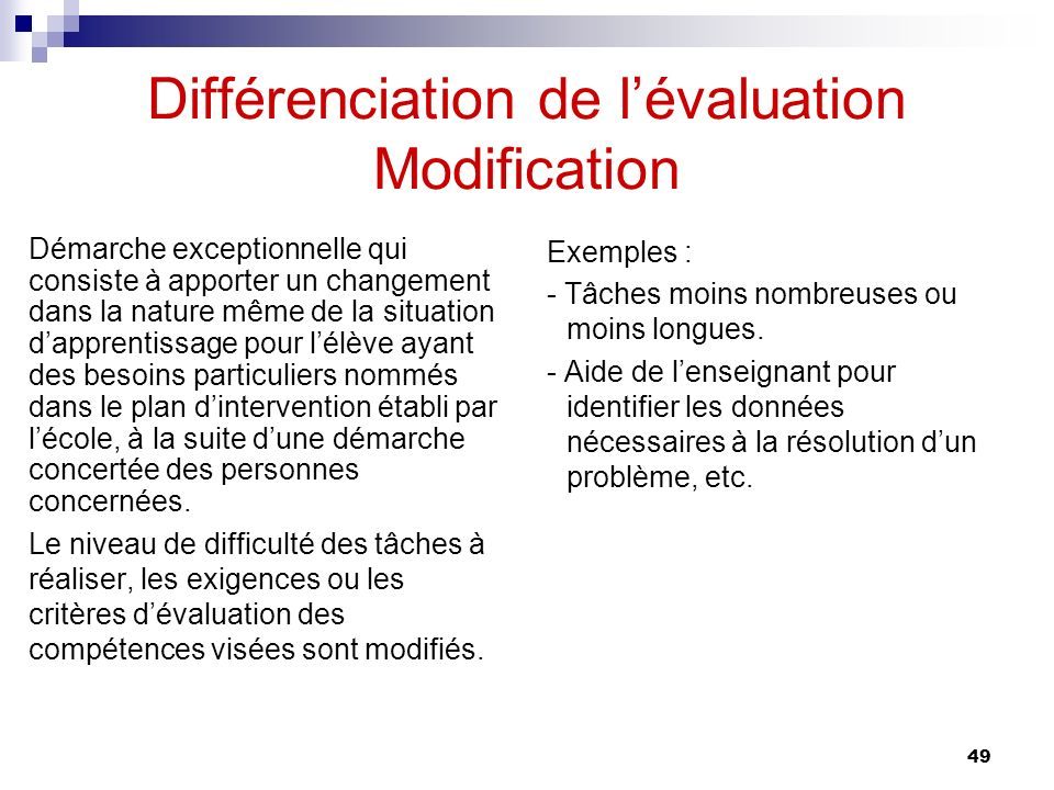 Différenciation de l'évaluation Modification