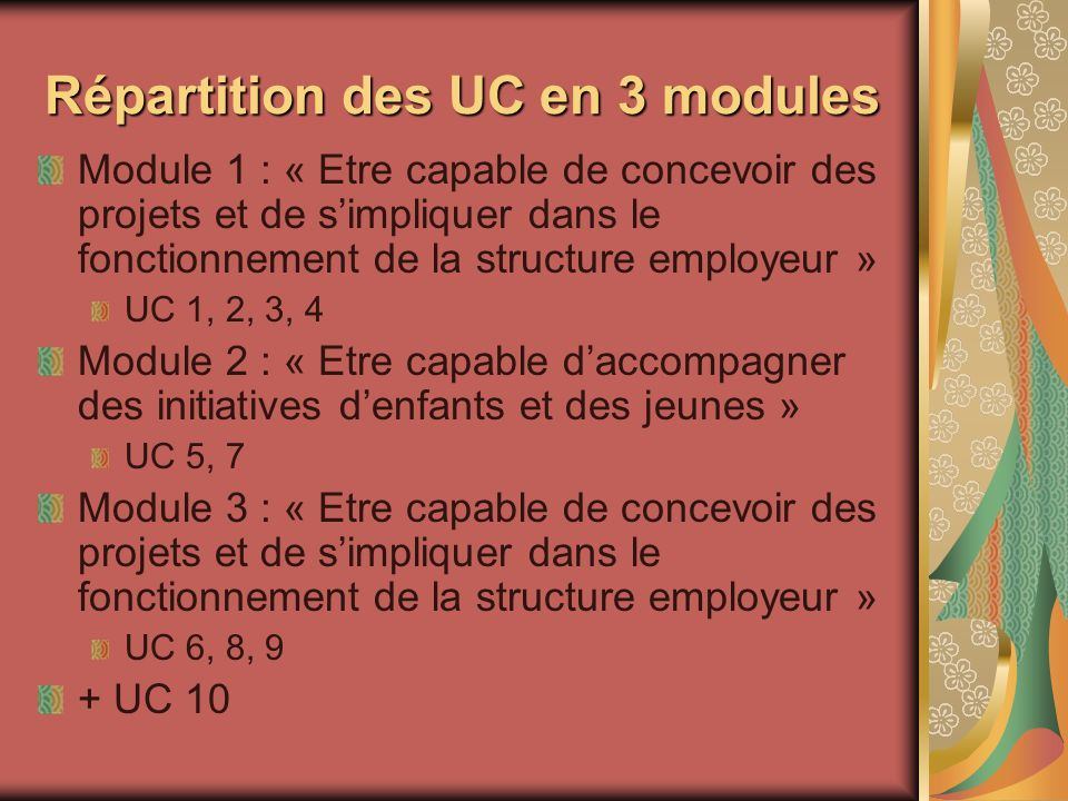 Répartition des UC en 3 modules