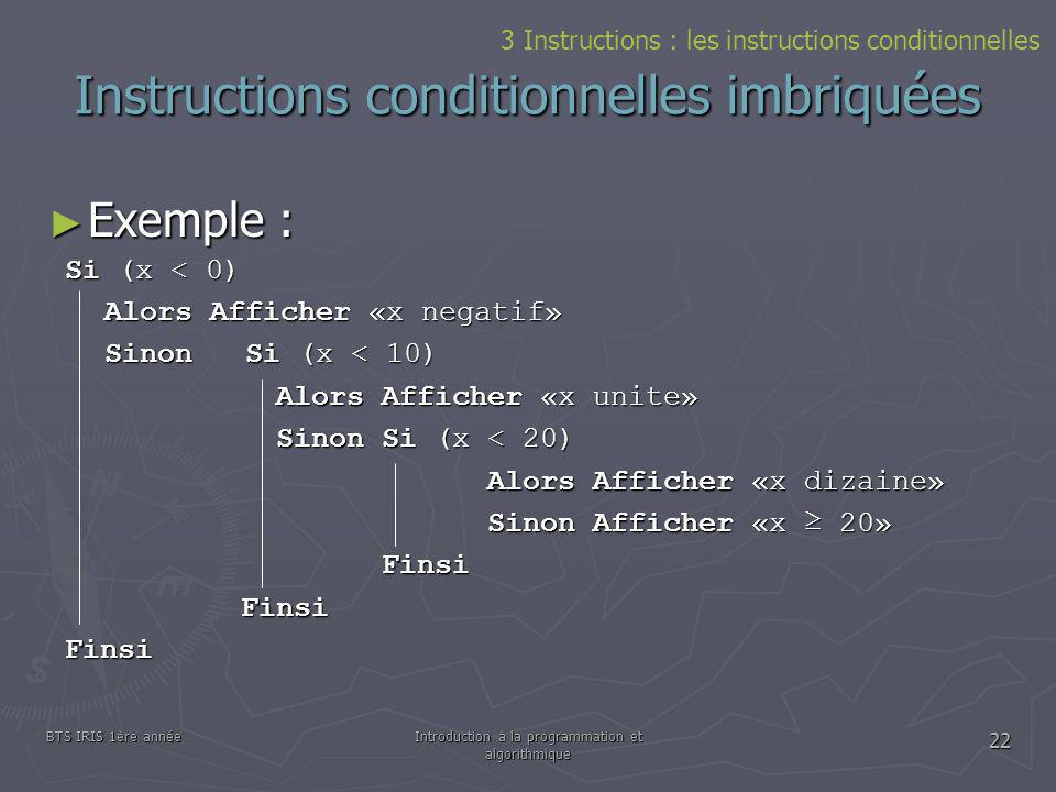 Instructions conditionnelles imbriquées