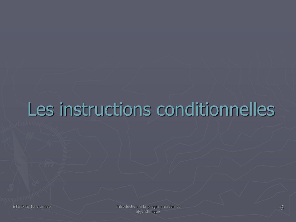 Les instructions conditionnelles