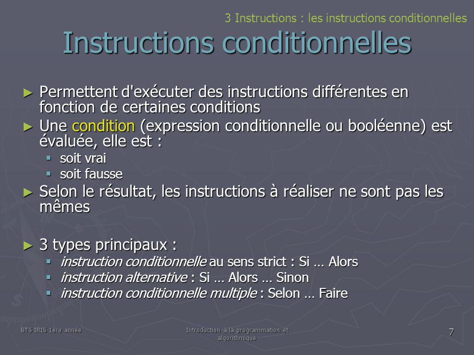 Instructions conditionnelles