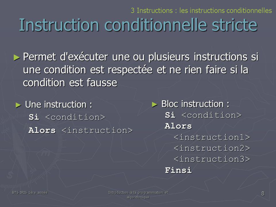 Instruction conditionnelle stricte