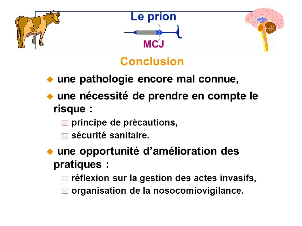 Le prion Conclusion une pathologie encore mal connue,
