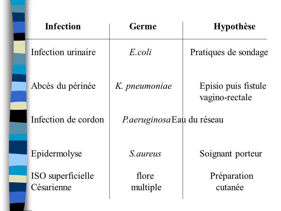 Infection Germe Hypothèse