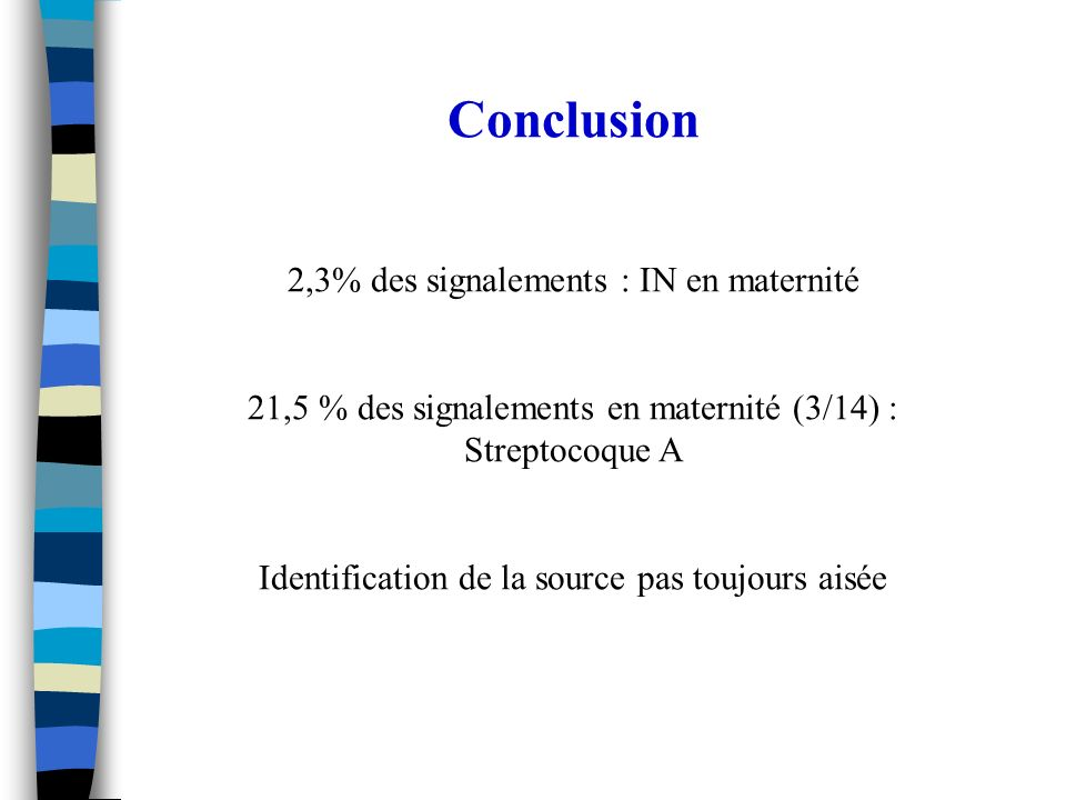 Conclusion 2,3% des signalements : IN en maternité