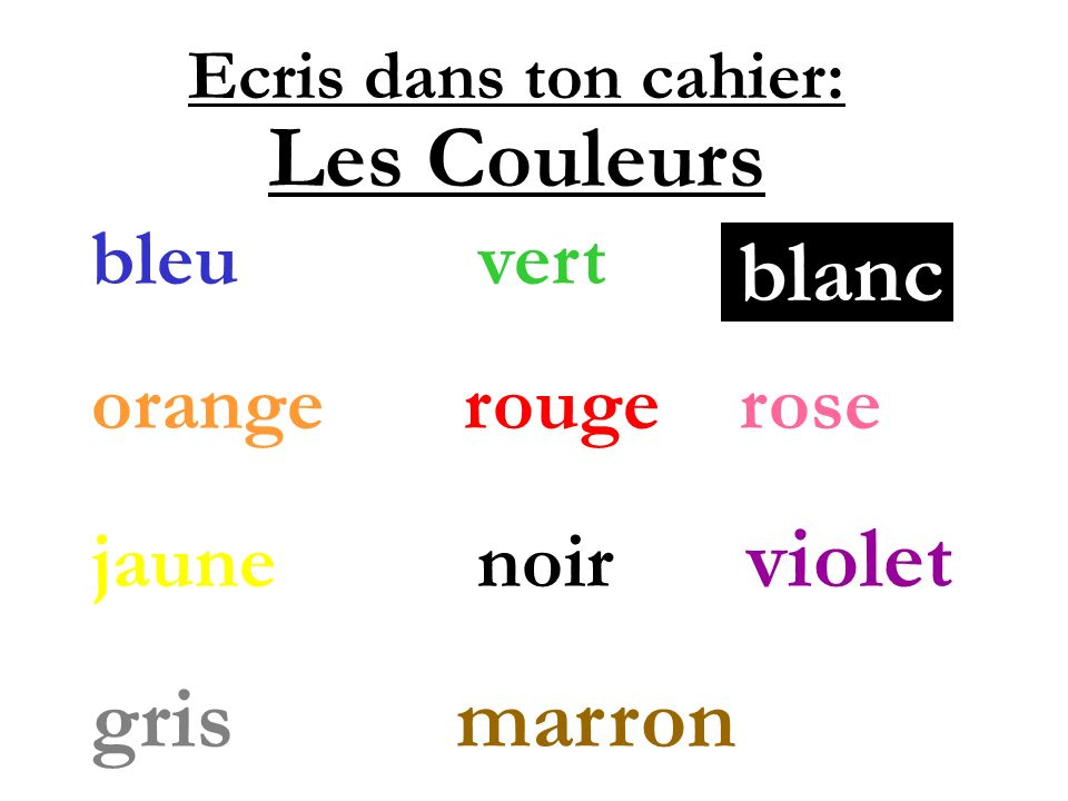 Les Couleurs blanc gris marron bleu vert orange rouge rose