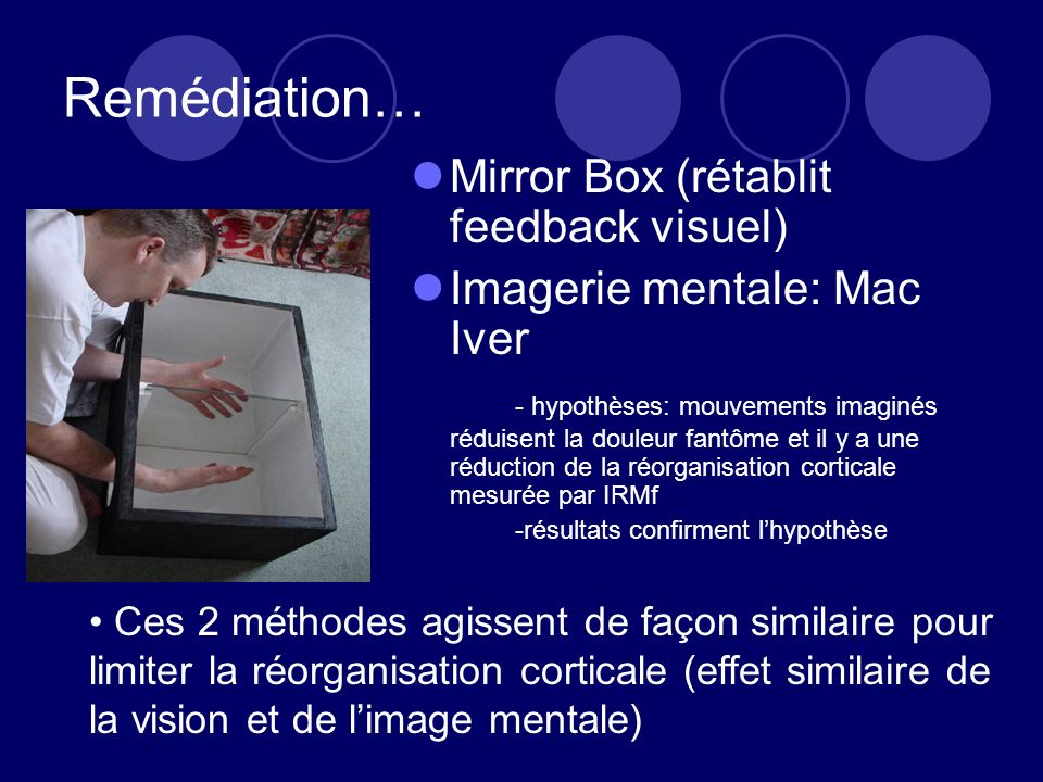 Remédiation… Mirror Box (rétablit feedback visuel)
