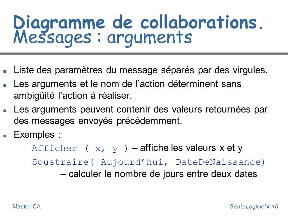 Diagramme de collaborations. Messages : arguments