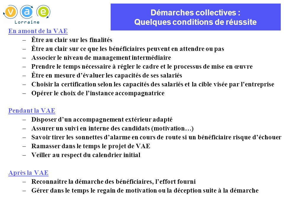 Démarches collectives : Quelques conditions de réussite