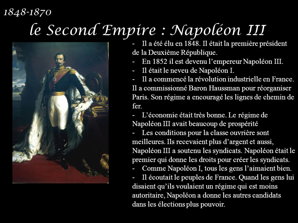 le Second Empire : Napoléon III