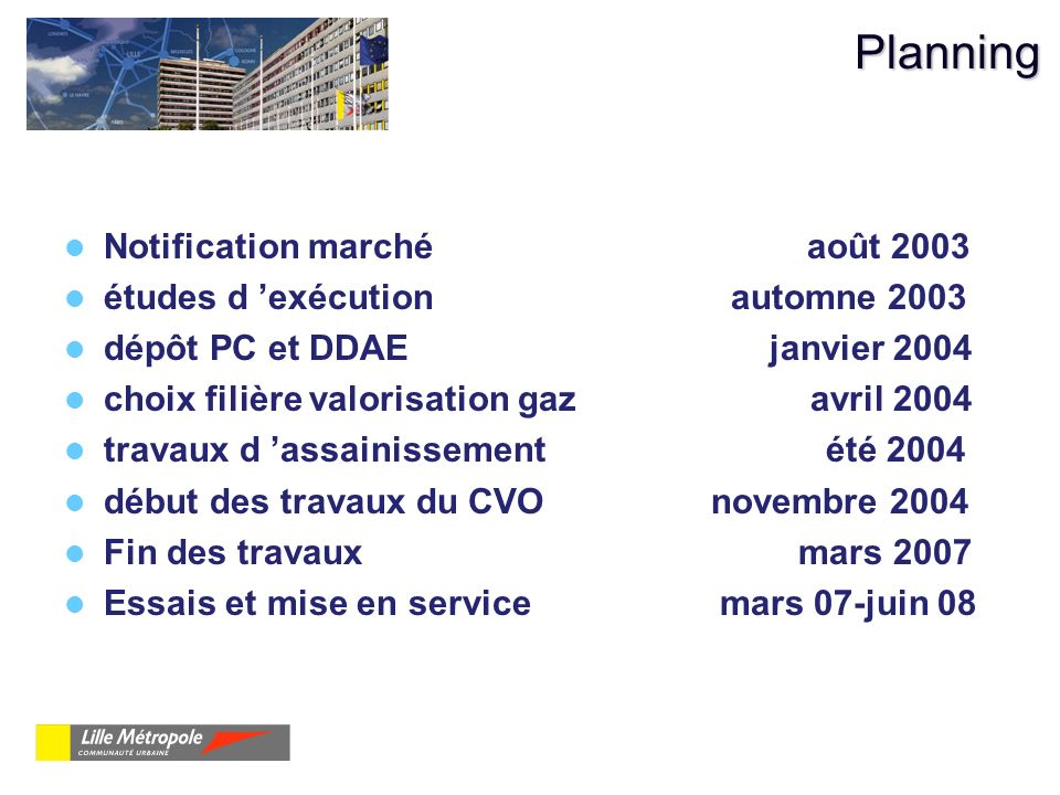 Planning Notification marché août 2003