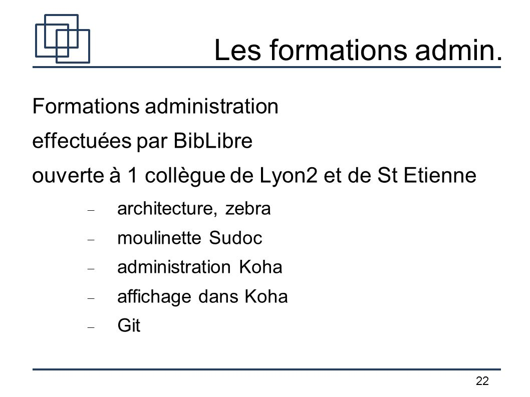 Les formations admin. Formations administration