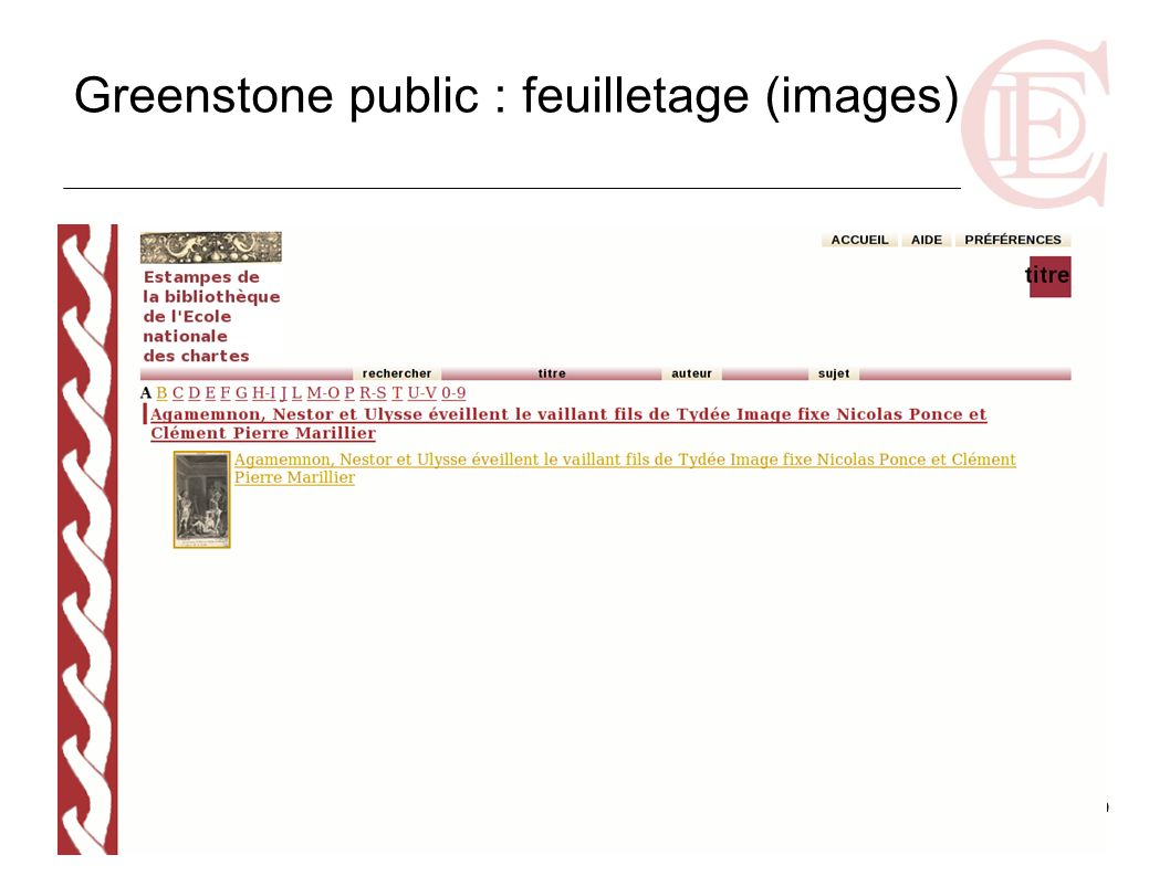 Greenstone public : feuilletage (images)