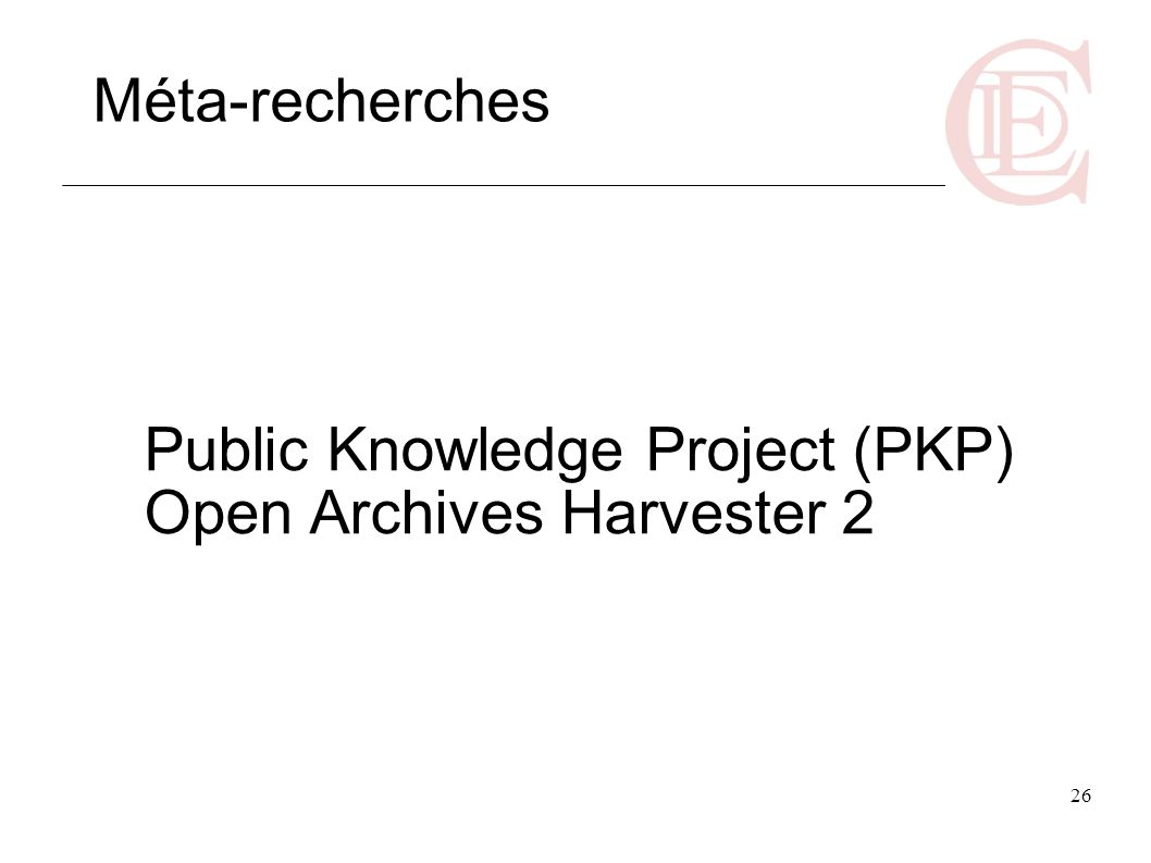 Public Knowledge Project (PKP) Open Archives Harvester 2
