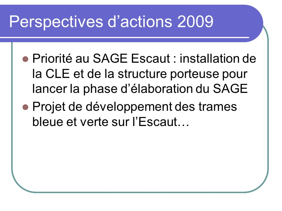 Perspectives d'actions 2009