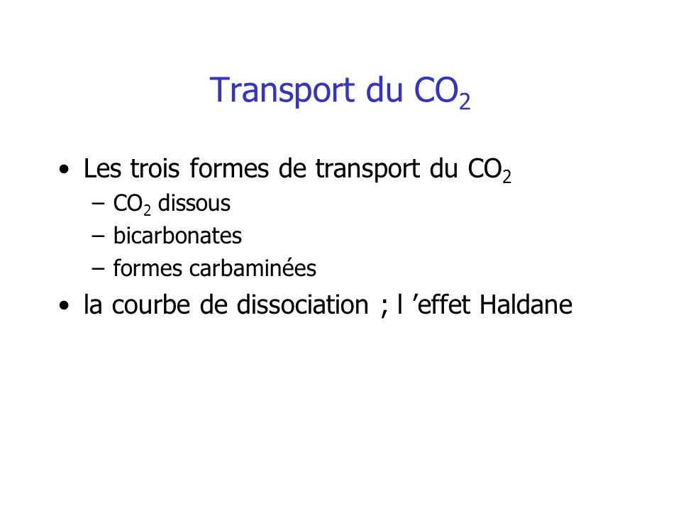 Transport du CO2 Les trois formes de transport du CO2
