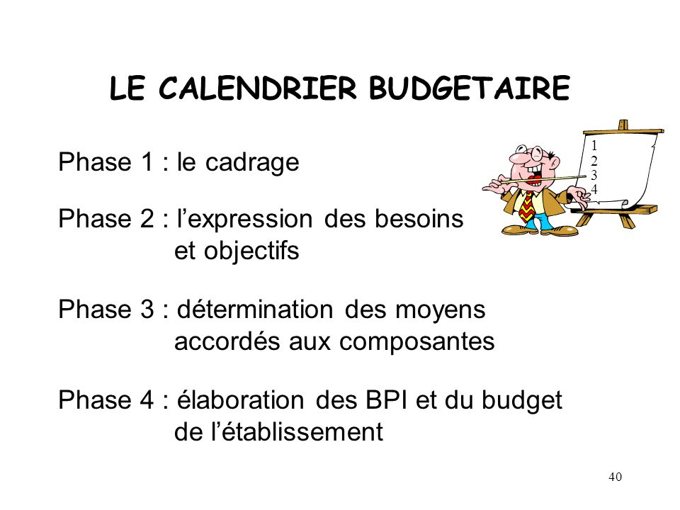 LE CALENDRIER BUDGETAIRE