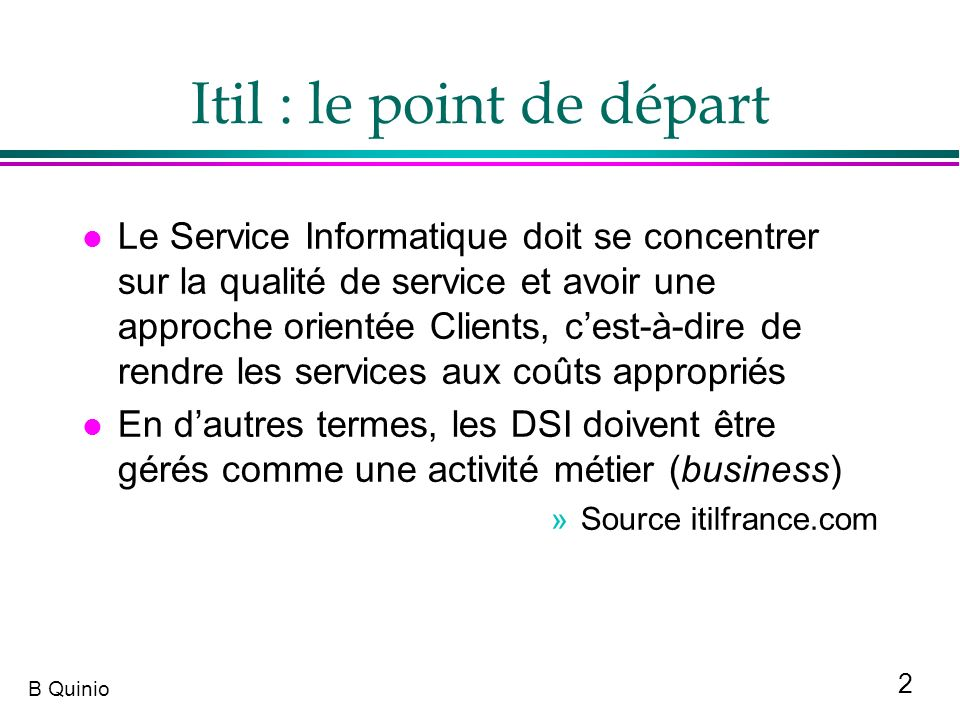 Itil : le point de départ