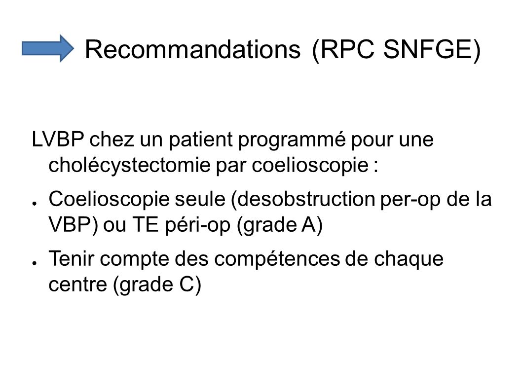 Recommandations (RPC SNFGE)