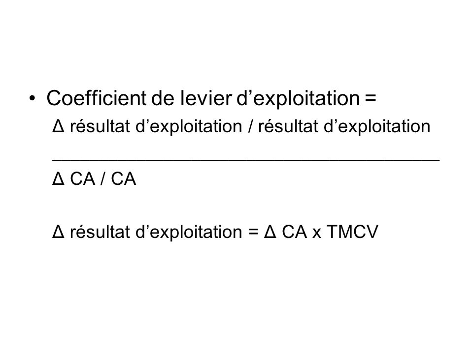 Coefficient de levier d'exploitation =