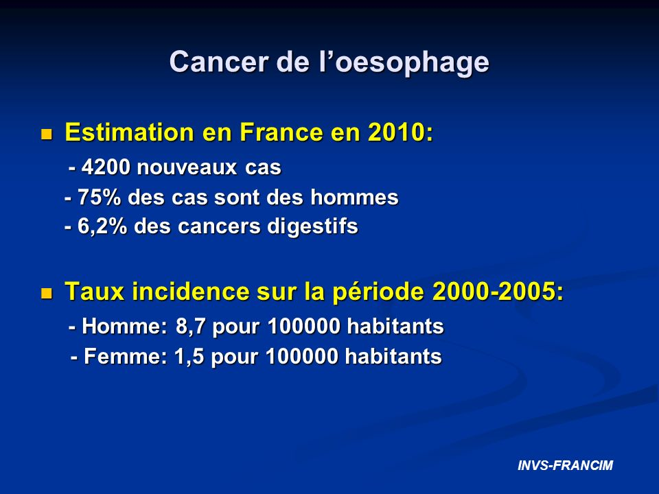 Cancer de l'oesophage Estimation en France en 2010: